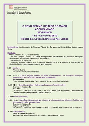 """""""O Novo Regime Jurídico do Maior Acompanhado"""" - workshop"""